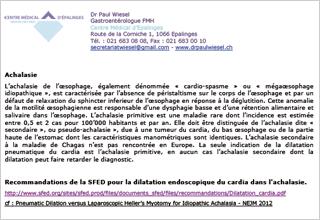 Dr Paul Wiesel, gastro-entérologue à Lausanne - Achalasie
